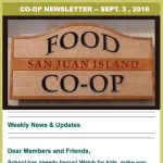 Co-op Newsletter — September 3, 2018