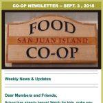 Co-op Newsletter — September 3, 2018