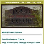 Co-op Newsletter — September 10, 2018