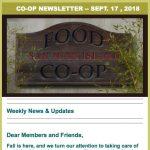 Co-op Newsletter — September 17, 2018
