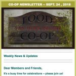 Co-op Newsletter — September 24, 2018