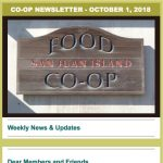 Co-op Newsletter — October 1, 2018