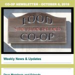 Co-op Newsletter — October 8, 2018