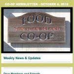 Co-op Newsletter — October 8, 2018