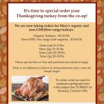 Special Order Your Thanksgiving Turkey, by Monday, October 15th