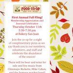 First Annual Fall Fling! — Thursday October 11th, 5:30-7:30 pm at Bakery San Juan