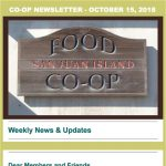 Co-op Newsletter — October 15, 2018