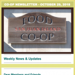 Co-op Newsletter — October 29, 2018