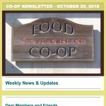 Co-op Newsletter — October 29, 2018