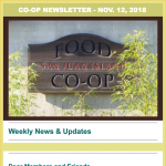 Co-op Newsletter — November 12, 2018