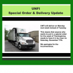 UNFI Special Order & Delivery Update