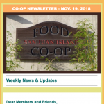 Co-op Newsletter — November 19, 2018