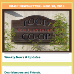 Co-op newsletter — November 26, 2018