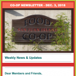 Co-op newsletter — December 3, 2018
