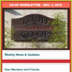 Co-op newsletter — December 3, 2018