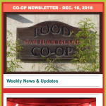 Co-op Newsletter — December 10, 2018