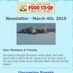 Monthly Newsletter — March 4th, 2019